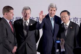 Boston Mayor Martin J. Walsh and Secretary of State John F. Kerry meet with Chinese representatives