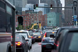 Traffic in Boston seaport and downtown area