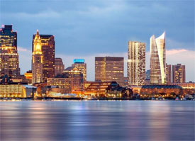 Glass office towers in Boston