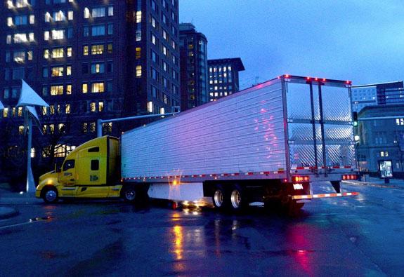 Trucks at night in South Boston Seaport