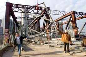 Boston Seaport Bridge under construction